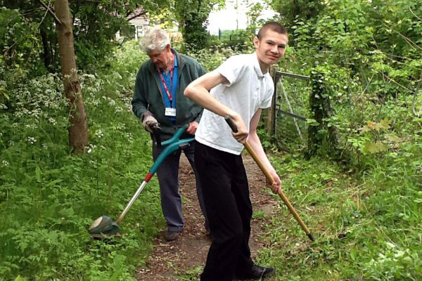 Working in the conservation area on volunteering day